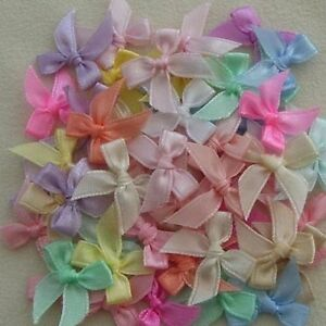 50-APPROX-MIXED-PASTEL-SATIN-BOWS-G68