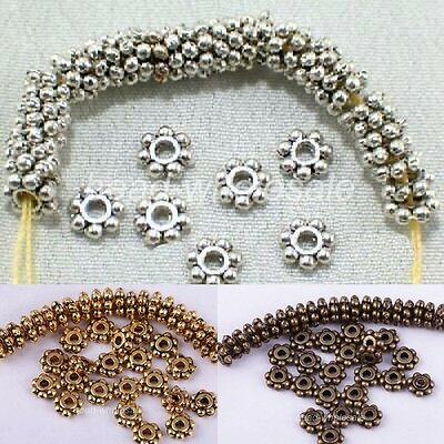 1000PCS Antique Silver/Gold/Bronze/Copper Daisy Flower Spacer Beads Craft DIY
