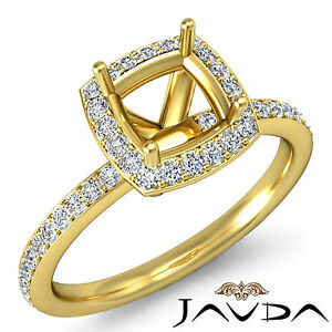 Diamond Engagement Square Cushion Proposed Ring 18k Yellow Gold Semi Mount 1Ct