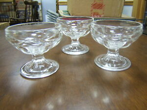 Federal-Glass-3-Sundae-Glasses-clear-3-tall-Marked
