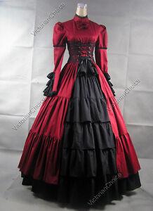 Victorian-Corset-Lolita-Dress-Ball-Gown-Prom-Steampunk-Punk-068-S