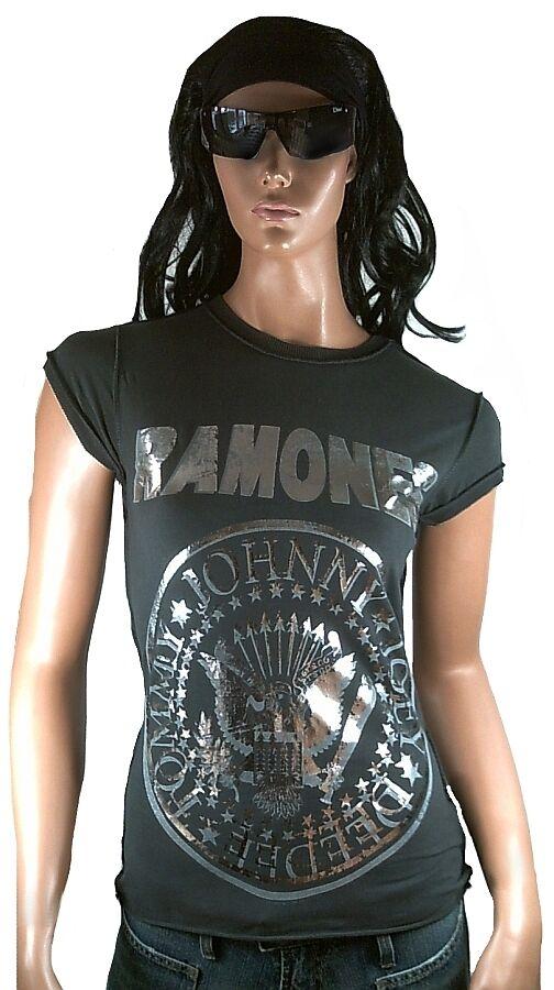 AMPLIFIED RAMONES Logo Hey Ho Let's Go Rock Silber Foil Print Vintage T-Shirt S