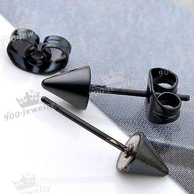 1 Pair Black Stainless Steel Spike Men's Earring Ear Studs Eardrop Punk
