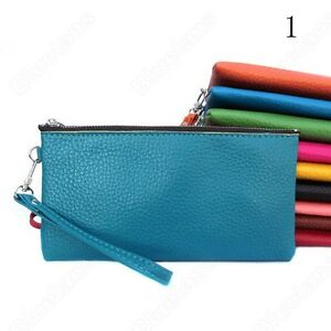 Womens-PU-Leather-Wristlet-Clutch-Evening-Bag-Purse-Cell-Phone-Pouch-9-Colors