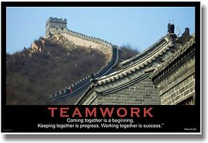 NEW Motivational TEAMWORK POSTER - Henry Ford Quote - Great Wall ...
