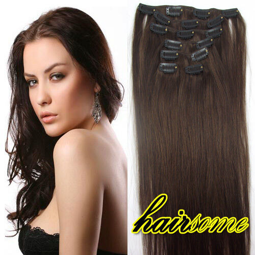 "LOT 15""18""20""22""24""26""Clip in Remy Real human hair extensions Straight any color"
