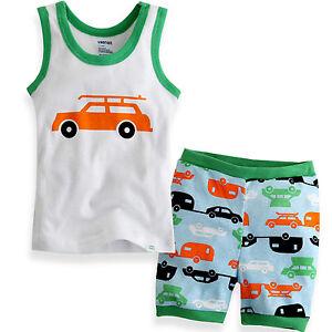 NWT-Vaenait-Baby-Toddler-Kid-Boy-Sleeveless-Sleepwear-Pajama-set-Camping-Car