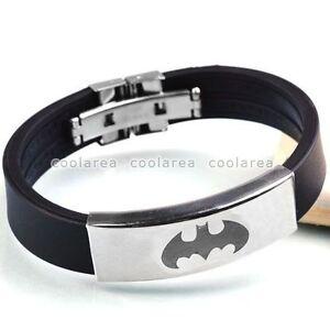 Stainless-Steel-Bat-Batman-Vampire-Logo-Black-Rubber-Wristband-Bangle-Bracelet