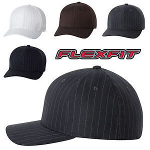 FLEXFIT-NEW-Pinstripe-Structured-Fitted-Baseball-Cap-6195P-S-M-L-XL-Hat-5-Colors