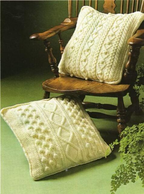 "Aran Cushion Pattern with 2 Designs 18""/46cm"