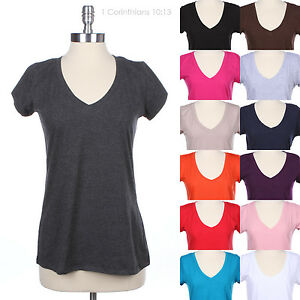 JUNIOR-PLUS-SIZE-Cotton-Plain-Solid-V-Neck-Short-Sleeve-Basic-T-Shirt-Top-Span
