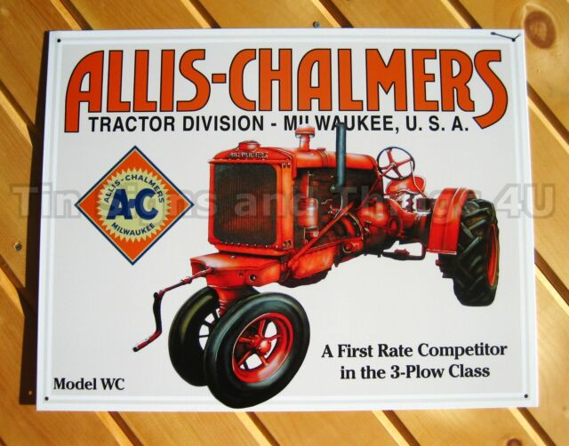 Allis-Chalmers Model WC TIN SIGN U vtg antique tractor ad poster wall decor 1133