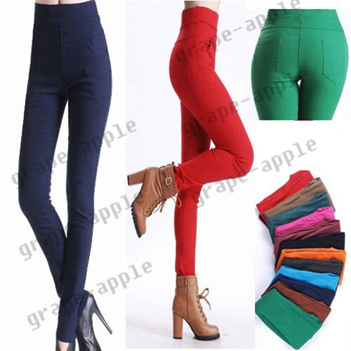 KDQ11 Women High Waist Pants Stretch Pencil Slim Fit Skinny Jeans Trousers 3785