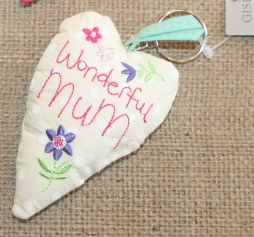 Wonderful Mum LOVE NAIF tessuto lungo CUORE PORTACHIAVI Gisela Graham le madri giorno