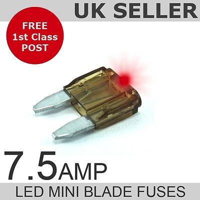 LED 7.5A Amp Mini Blade Fuses *Quantity 10*