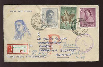 INDIA 1962 BHIKAIJI CAMA FDC...REGISTERED REDIRECTION in HUNGARY