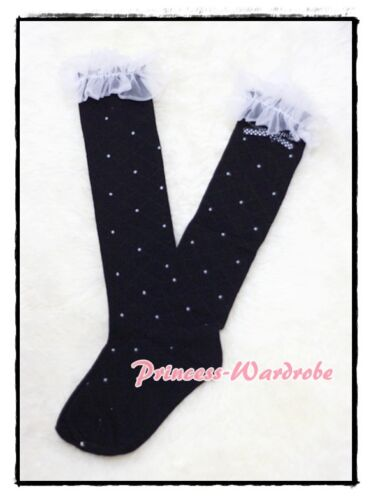 Black Petti Sock Girl Stocking White Polka Dots Printing For Pettiskirt 3-10Year