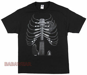 Music-Stuff-Amped-Up-T-Shirt-Black-Wire-Rib-Cage-Guitar-MIC-Speaker-Heart-BABA