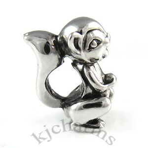 Squirrel-Animal-Silver-European-Spacer-Charm-Bead-For-Bracelet-EB464