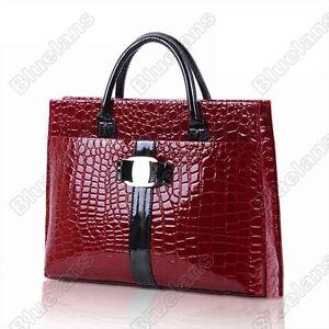 Korean-Womens-Faux-Crocodile-Patent-Leather-Tote-Shoulder-Bag-Handbag-Red-H