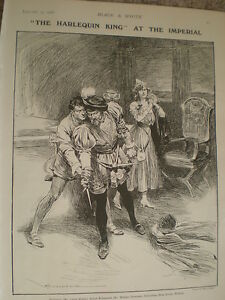 Play-The-Harlequin-King-Imperial-Theatre-London-1906-old-print-Max-Cowper