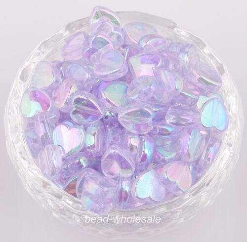 New 200pcs Heart Shape Acrylic  AB color Spacer Beads for barcelet or necklace