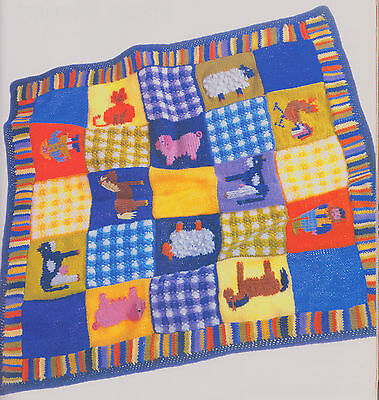 Animal Farm Gingham & Striped Baby Boys First  Blanket Knitting Pattern 30 x 30""