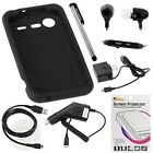 Gtmax 7 Pcs Bundle for HTC Droid 6350 Incredible 2 - Includes: Silicone Skin Soft Rubber Cover Case (Black) + Clear LCD Screen Protector + Home Wall and Car Charger + Micro USB Data Cable + Handsfree Earbud with Mic + Stylus Pen (Free Gift Bluemall L...