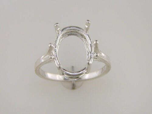 (11 x 9 mm - 14 x 12 mm) Oval 4 Prong Split Shank Ring Setting Sterling Silver