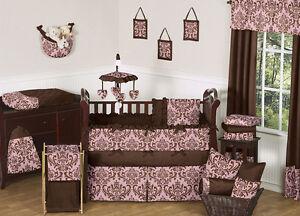 unique discount pink and brown damask designer luxury baby girl crib bedding set ebay. Black Bedroom Furniture Sets. Home Design Ideas