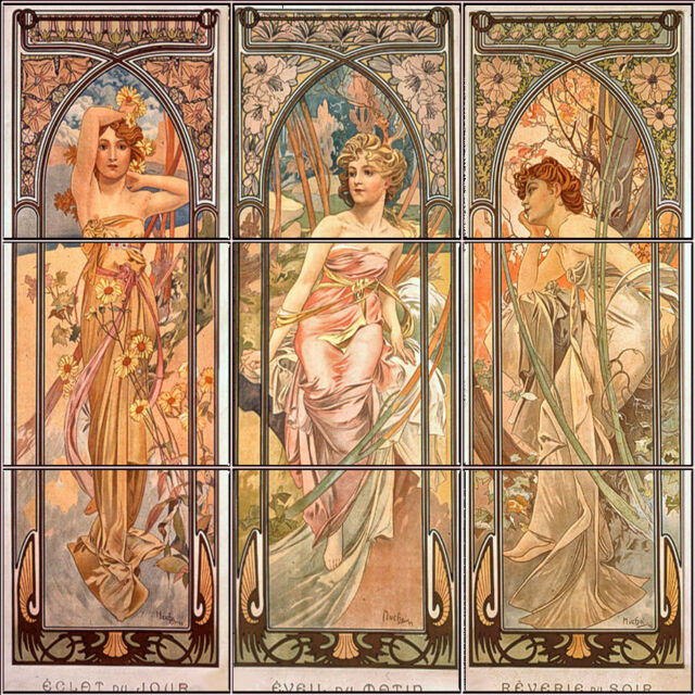 Tile Mural, Art, Ceramic Tile, Backsplash, Bath Wall Decor,  Alphonse Mucha 08b