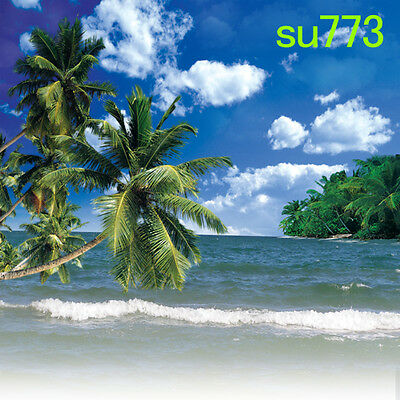 OUTDOOR BEACH Coconuttree 10w x 20h FT CP SCENIC PHOTO BACKGROUND BACKDROP SU773