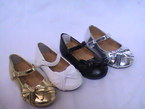 Girls-Ballet-Flats-w-Raised-Bow-Fit3-TODDLER-Flower-Girl-Pageant-Dress-Shoes