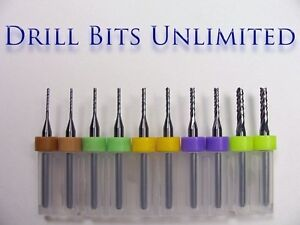 Ten-Piece-Variety-Solid-Carbide-Router-Bits-Endmills-032-to-0945-NEW-R2-N