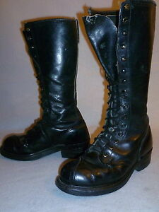 Vintage-Linesman-Logger-Biker-Steel-Toe-Work-Knee-High-Tall-Boots-Men-039-s-Size-6
