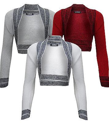 Bolero Shrug Womens Knitted Cardigan Long Sleeved Ladies Size 8-14 Brand New