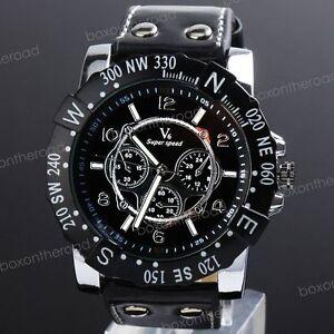 New-Fashion-Military-Black-Leather-Men-Boy-Sport-Unisex-Analog-Quartz-WristWatch