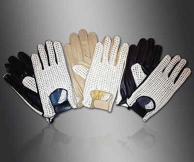 MENS CLASSIC DRIVING GLOVES SOFT GENUINE REAL LAMBSKIN LEATHER - TAN BLACK BROWN