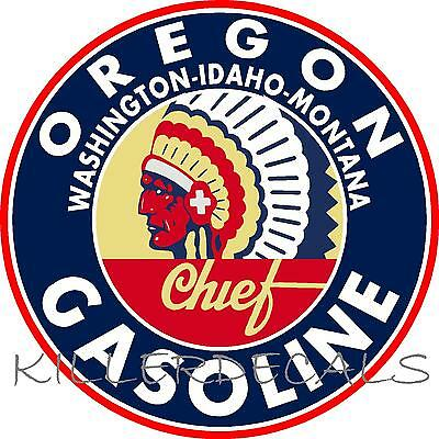 """12"""" CHIEF OREGON GASOLINE DECAL GAS AND OIL FOR GAS PUMP, SIGN, WALL ART STICKER"""