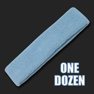 One Dozen Light Blue Terry Cloth Elastic Sports Headband Headbands Sweatbands