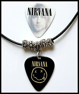 Nirvana Smiley Black Leather Guitar Pick Necklace + Pick