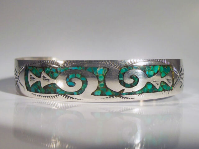Vintage Margie Chee Navajo Silver and Turquoise Matrix Bracelet