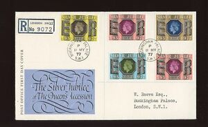 1977-Silver-Jubilee-ROYAL-COURT-Post-Office-with-BUCKINGHAM-PALACE-CDS-FDC