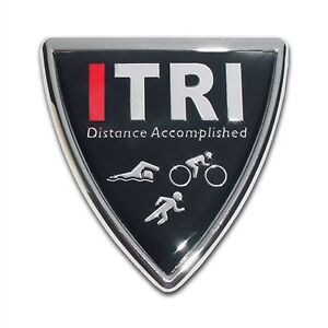 "Triathlon ""ITRI"" Shield Metal Auto Emblem: Chrome Running Car Decal Sticker MVP"