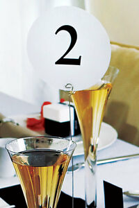 Black White Round Wedding Table Numbers 1-24