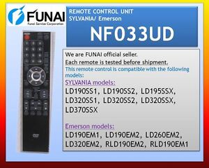 NEW-REMOTE-CONTROL-UNIT-SYLVANIA-Emerson-NF033UD