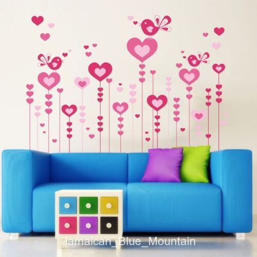 Romantic Pink Love Hearts Birds Wall Sticker Decal
