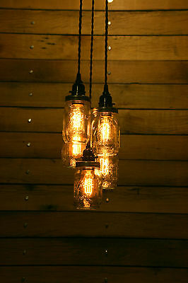 "5 Jar Chandelier Light - 3' (36"") Hang Down - Hanging Pendant Light -Mason Ball"