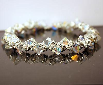 New Oscars Crystal AB Sterling Silver Bracelet made with Swarovski Elements.