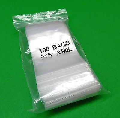 "3"" x 5"" Ziplock Bag Clear 2mil Re-Closable Bags Poly Zip Lock Seal 3x5 100 Pcs"